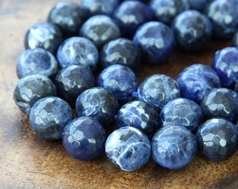 Sodalite Beads, 8mm Faceted Round - 15 inch strand - eGF-SD001-8