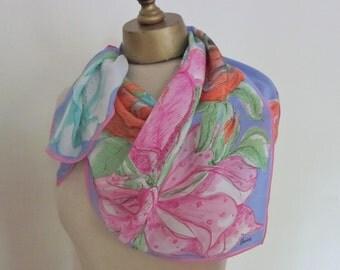 Vintage SILK scarf, FLORAL silk scarf,  summer square scarf.  VERA scarves. Vera Neumann, ladies headscarf