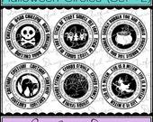 Digital Printable Stamps, Sentiments, Word Art, Clip Art, Card Making, Scrapbooking  -Set of 6 -HALLOWEEN CIRCLES -SET 2