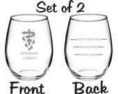 Veterinary Vet Veterinarian Student Glass  Etched FREE Personalization up to 4 words
