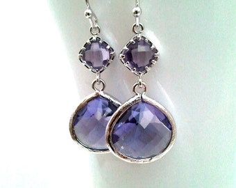 Purple Wedding Earrings, Amethyst Earrings, Wedding Earrings, Drop, Dangle, Glass Earrings, bridesmaid gifts,Gift for her