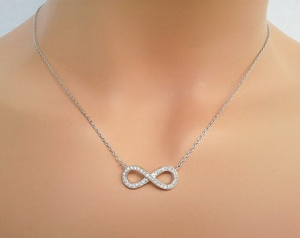 Infinity Love necklace, Cubics Silver necklace, charm, pendant, lariat, necklace, CZ stones,Bridesmaid Jewelry Bridesmaid Gift
