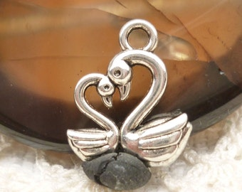 Antiqued Silver  Swan Pair Heart Charms (6) - S44