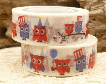 Patriotic Owl, Red White Blue Washi Tape - K589