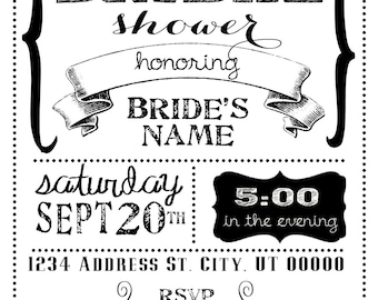 Black and White Bridal Shower Invitation 5x7 CUSTOMIZABLE!