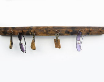 wooden key holder,  reclaimed wood wall rack