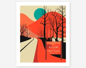 TWIN PEAKS travel Poster, Pop Artwork for the home decor, Giclée Fine Art Print