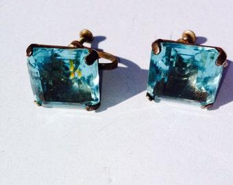 Vintage Blue Topaz screw back earrings