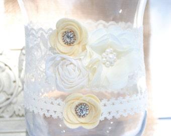 Wedding Garter Set, Bridal Garter Set, Ivory Lace Garter, Keepsake Garter, Baby baptism, Plus size garter, Christening