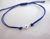 sterling silver evil eye bracelet choose cord color