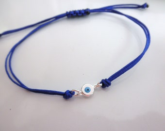 sterling silver evil eye bracelet choose cord color