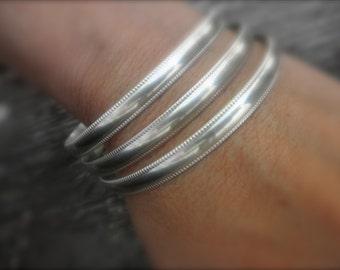 Set of 3 Sterling silver bangle bracelets milgrain edge - milgrain bangle bracelet - 925 solid sterling silver