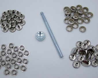 Heavy Duty Snap Fastener Kit With 20 Snaps And Setting Tool For Thicker Materials