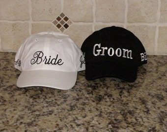 Bride & Groom Matching Caps - Optional personalization available