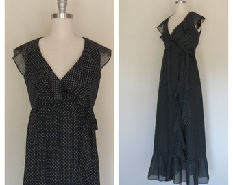 70s cotton maxi dress size xs / vintage polka dot dress