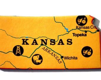 Kansas State Map Magnet - Vintage Puzzle Piece