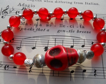 Halloween jewelry The Real Dia de Los Muertos Red Skull Stretch bracelet with evil eye talisman beads and red jade