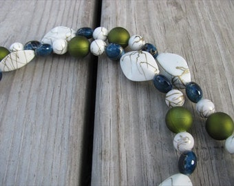 JEWELRY SALE- Bold, Statement Necklace- Chunky Beaded Necklace- White, Blue, Green- only 1 available