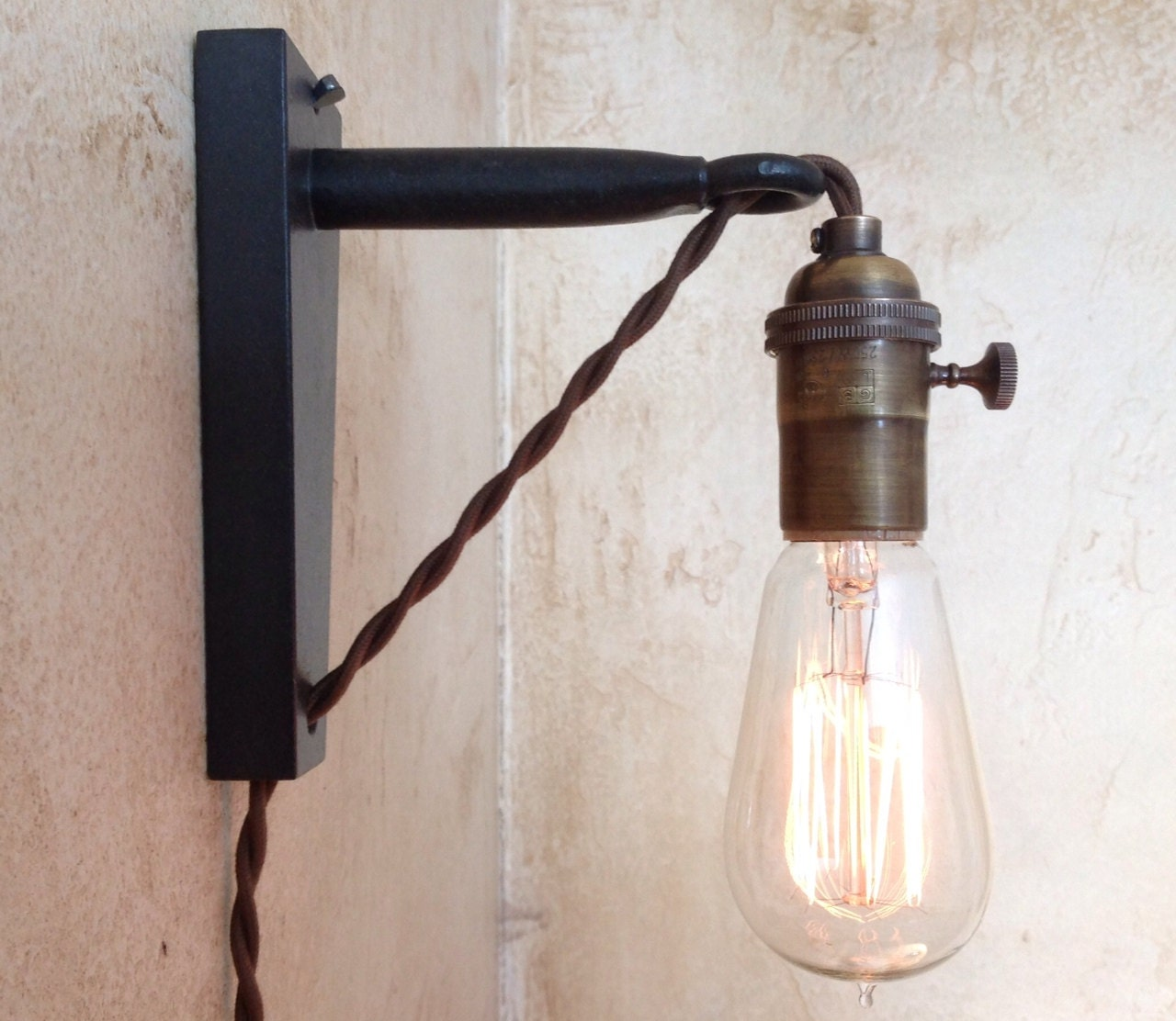Wall Pendant Light: Hanging Pendant Wall Sconce. Retro Edison By