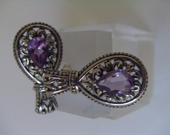 Sterling Silver Amethyst Gemstone drop Earrings - Pierced post with back pair