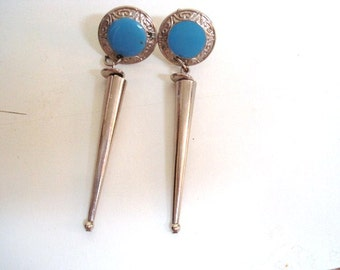 ARTDECO VINTAGE EARRINGS - Art Deco Style  -  Vintage Earrings =  Dangling Style  = For Pierced Ears = Silver Tone - Turquoise Color Stone