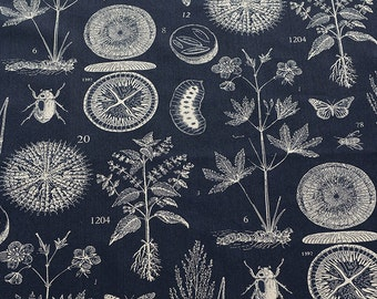 Cotton Linen Fabric Navy Blue Linen Cotton with Special Plant & Animal Specimens- A half yard