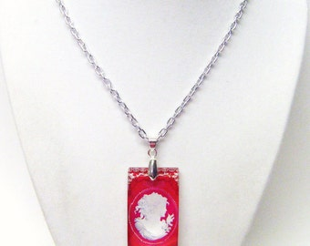 Red/Fuchsia Lil Cameo Rectangle Glass Pendant Necklace