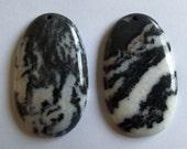 Oval Zebra Jasper Pendants Duo
