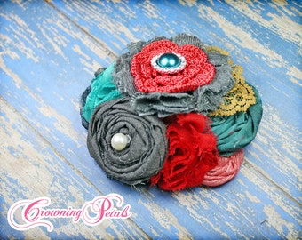 Charcoal Grey, Teal, Red Headband, Hair Accessory, Gray, Mustard Flower HairBow, Baby Hair Accessory, Flower Brooch, Flower Hair Clip, Coral