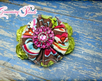 Fabric Flower Headband, Brown, Chartreuse, Lime Hair Bow, Baby Girl Hair Accessories, Baby Hair Bows, Clip, Flower Brooch