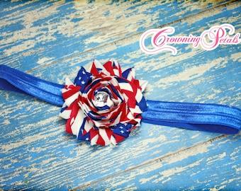 July 4th Headband, Red, White Blue American Flag Hair Bow, Fourth July Hair Accessory, Shabby Chiffon Flower Clip, Hair Bow, Stars Stripes