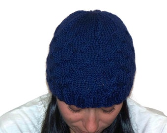 Over Lapping Cables Hat  Medium Weight   Royal Blue