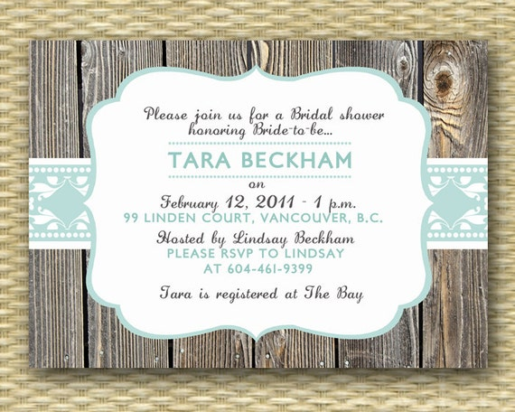 Rustic Bridal Shower Invitation Wood Vintage Lace Typography Style Aqua Blue Bridal Brunch Country Style Bridal Tea, ANY EVENT, Any Colors
