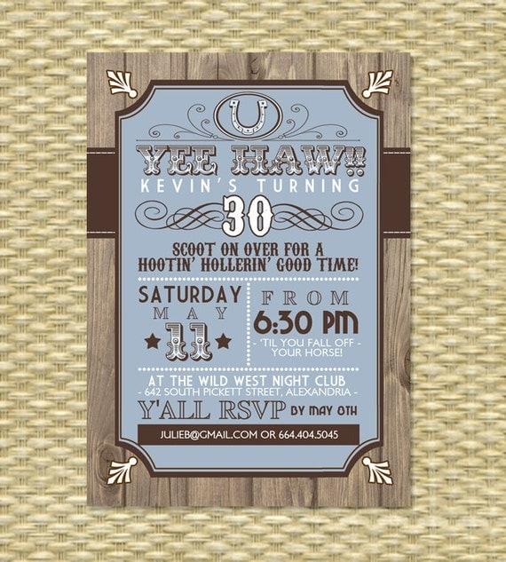 Country Western Adult Birthday Invitation Western Theme 30th