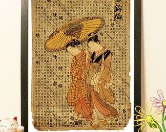 Japaneses Geishas umbrella and rain - Vintage Japan paper Dictionary Print