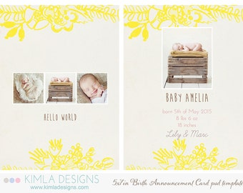 5x7in Birth Announcement Flat Card PSD Template, Summer 2014 Collection vol1