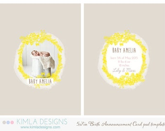 5x7in Birth Announcement Flat Card PSD Template, Summer 2014 Collection vol2
