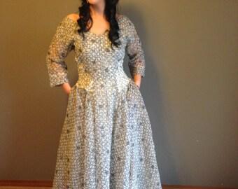 50s Atomic Hostess Astract Print Sweep Bottom Paper Dress