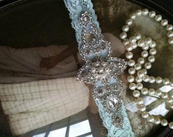 Wedding Garter - Garters - Bridal Garter- Mint garter-Keepsake-Ivory Lace Garter Set - Something Blue- Cream Vintage Garter - Bridal Garter