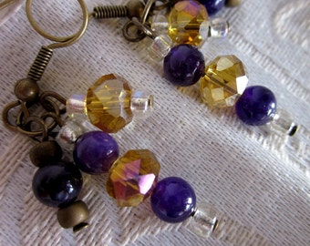 Blue Adventurine and Glass Amber Rondel DANGLE Earrings