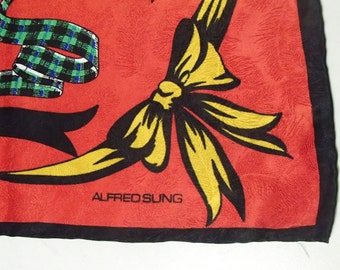 ALFRED SUNG/ 1990s Red SILK Scarf/ Pocket Watch /Chain Print