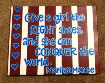 Hand-painted Canvas with Marilyn Monroe Quote