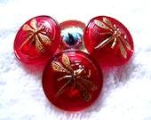 Czech  Glass Buttons  4 pcs   DRAGONFLY  24K gold   22 mm     IVA 089