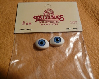 8 mm Blue Doll Eyes are made in acrylic, by Tallina's Doll Supplies