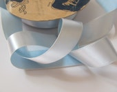 """Vintage Light Blue Woven Edge Rayon Satin Ribbon 1"""" Inch Wide - 2 Yards Total (#2A)"""