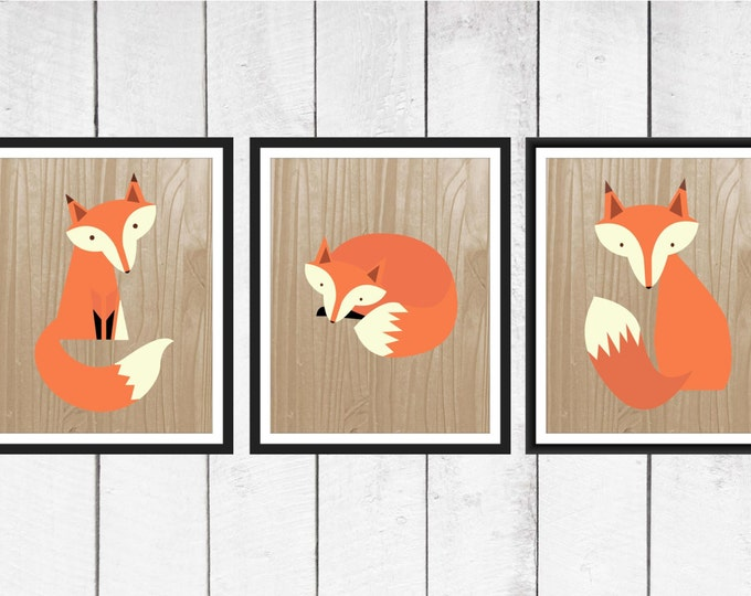 Fox Nursery Decor - 3 Piece set - Fox Print Trio on Faux Wood Background