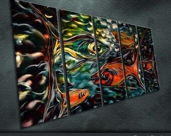 "Original Handmade Metal Art Modern Abstract Painting Sculpture Indoor Outdoor Decor ""Life in sea"" by Ning"