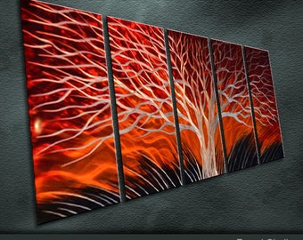 "Large Original Metal Wall Art Modern Abstract Painting Sculpture Indoor Outdoor Decor ""Winter the Sunset"" by Ning"
