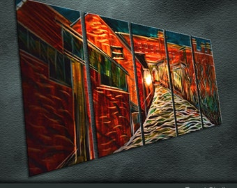 """Large Original Metal Wall Art Abstract Painting Sculpture Indoor Outdoor Decor """" The Red Houses """" by Ning"""