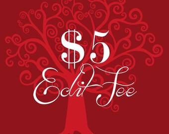 Five Dollar Edit Fee